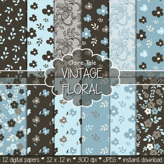 "Flower digital paper: ""VINTAGE FLORAL PAPER"" blue brown floral background / vintage flower, leaves, lace pattern / vintage floral background"