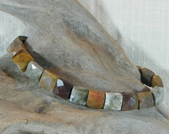 """Multicolor ocean jasper bracelet 9.5"""" long toggle clasp faceted squares Picasso jasper semiprecious stone jewelry in a gift bag 11659"""