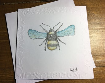 Hand Drawn Bee card. Pencil and watercolour