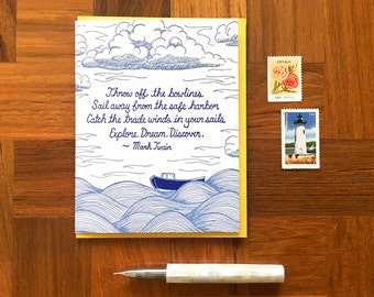 Mark Twain Quote, Letterpress Greeting Card, Inspirational Card, Twain Card