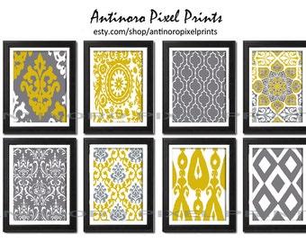 Digital Print Wall Art Mustard Yellow Grey Vintage / Modern inspired Wall Art -Set of (8) - 11x14 Prints -   (UNFRAMED)
