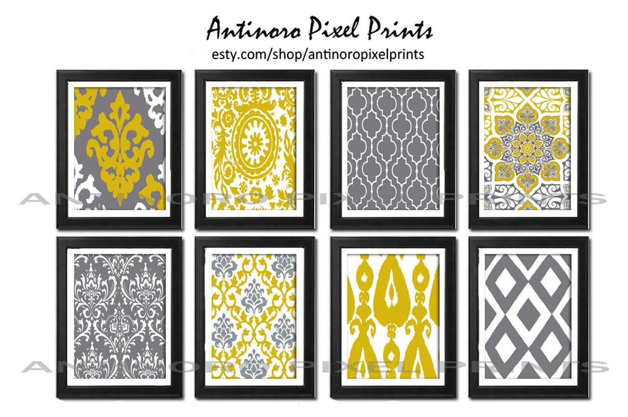 digital print wall art moutarde jaune gris vintage / moderne