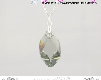 Svarovski Black Diamond Crystal Necklace Perfect Unique Fashion Jewellery Gift