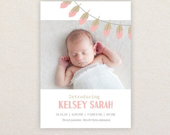 Girls Photo Birth Announcement. Feather Garland. I Customize, You Print.
