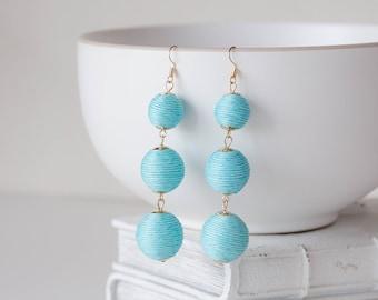 Blue and Gold Ball Statement Earrings, Boho Earrings, Bohemian Jewelry, Tribal Earrings, Light Weight Earrings