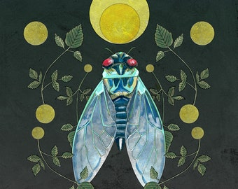 Cicada and Moon Art Print Unframed