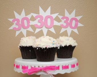 Star Burst Number Cupcake Toppers