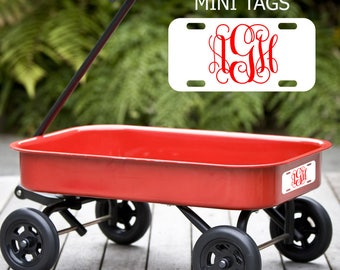 Mini Personalized License Plates. Perfect for kids. Put a name or monogram on wagons, powerwheels, & bicycles with our mini name tags. Cute!
