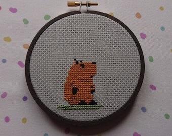 Capybara Cross Stitch Hoop