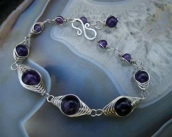 Amethyst Gemstone Argentium Sterling Silver Bracelet | February Birthstone