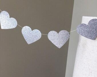Silver Glitter 10 ft Heart Paper Garland, Gold Wedding Decor, Gold Bridal Shower, Gold Glitter Decor