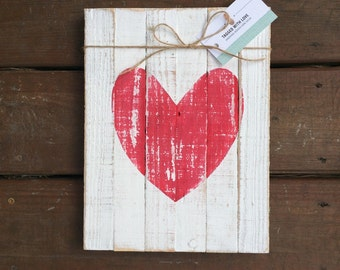 Reclaimed Wood Sign - Wooden Heart Sign - Wood Wall Art - Home Decor - Rustic Home Decor Sign - Valentines Day Sign