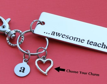 Personalized Teacher Key Chain Stainless Steel Customized with Your Charm & Initial -K488