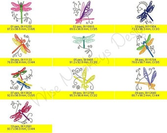 Dragonflies machine embroidery designs set of 10