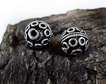 Spacer Beads 12mm, Ethnic Beads, Bali Style Round Ball Beads, Patterned Beads, Antique Silver finish, 4 pieces