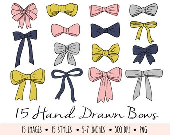 Bows Clip Art. Hand Drawn Mustard and Navy Bows. Doodle Ribbons Clip Art. Hand Drawn Pink and Grey Digital Bow Clipart.