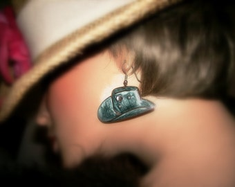 Sterling Silver Earrings Western Hat Southwest Design Blue Enamel Pierced Earrings Vintage Jewelry Pierced Southwest Earrings Dangle Drop