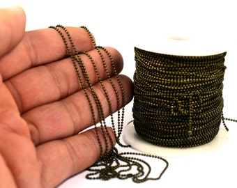 165ft. 50  Meter Antique Brass Faceted 1.2mm Chain
