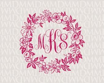 Floral Garland Wreath Wedding Monogram - Wedding Logo - Wedding Crest
