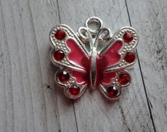 lot 2 21.5x21 mm red enameled silver Butterfly charms