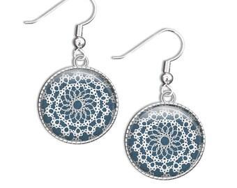 Lace Earrings, Lace Photo Jewelry, Drop Earrings, small dangle earrings, silver earrings, picture earrings, photo earrings, glass earrings