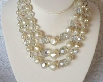 Vintage Wedding Necklace, Beautiful, Faux Pearl & Crystal, 3 Strand, 1950s Vintage, Wedding, Necklace
