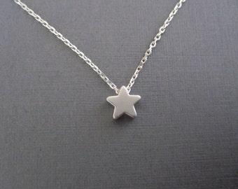 Tiny Silver Star Necklace