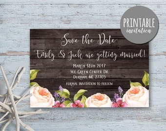 Save the date Card Printable, Floral Save the Date Card, Rustic Save the Date, Boho Save The Date, Printable Save the Date Card lipa