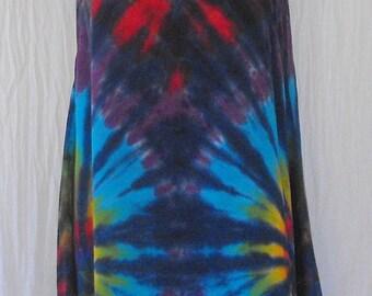 Tie Dye Tunic Tank Top With Asymmetric Hem in Cobalt Rainbow