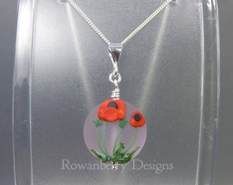 Poppy Pendant and Chain - Art Nouveau Handmade Lampwork Glass & 925 Sterling Silver - Rowanberry Designs SRA - Art- PP1