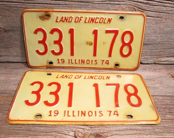 1974 Illinois License Plate 333 178 The Plate Lying flat