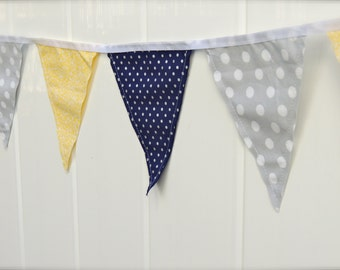 Yellow, Grey, Navy Pennant Banner