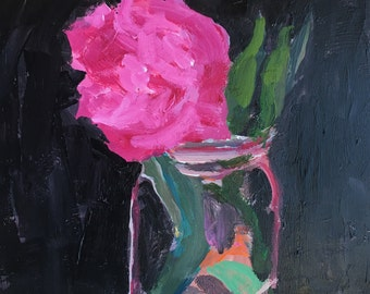 """Pink flower painting, original art, impressionist flowers, wall candy, flowers in vase, acrylic painting, christine parker 10x8"""""""