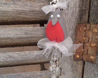 bag in red and grey shabby charm.