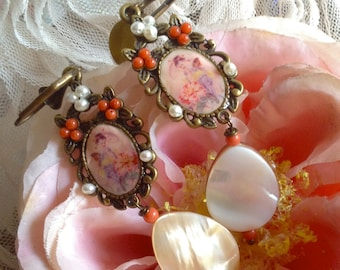 Lilygrace Geisha Earrings with Coral, Freshwater Pearls and Mother of Pearl