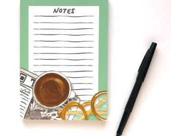 5 x 7 Desk Notepad - Coffee Cup Notepad - To Do List - Office Supplies - Illustrated Notepad - Mint Notepad - Gifts for Co Worker
