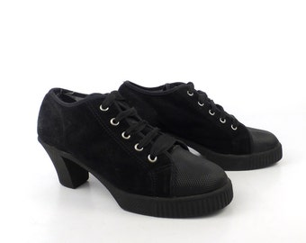 High Heel Sneakers Vintage 1990s Black Canvas Euro Club Shoes Women's size 6 B