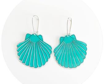 Shell Drop Earrings - Aqua