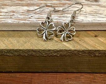 Clover Earrings - Lucky Earrings - St Patricks Day Jewelry - Lucky Clover - Dangle Earrings - Surgical Stainless Steel - French Hooks