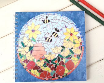 Bee Garden Notebook with Blank Pages ~ spiral bound art journal ~ square ~ mosaic flowers and bumble bees ~ gardeners gift ~ bee keeper gift
