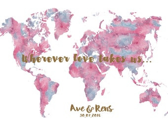 World Map wedding guest book Printable - Printable Files only