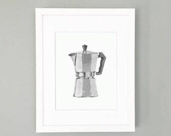 Coffee pot print - Colour Choice - Moka pot print - Coffee art - Italian coffee art - espresso art - Gift of art -  8x10 11x14 print