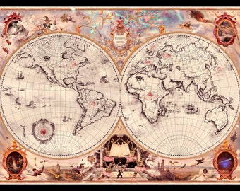 Harry Potter Wizarding Schools Map Of The World Art Poster Print A4
