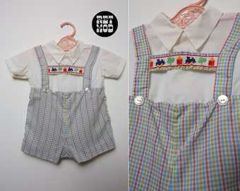 BABY SIZE - Vintage Pastel Blue & White Plaid Cotton Overalls Playsuit with Trains
