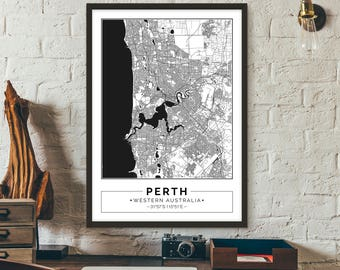 Perth, Western Australia, City map, Poster, Printable, Print, Street map, Wall art