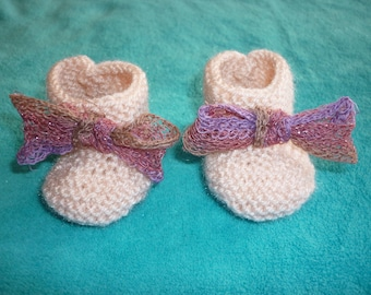 Baby girl booties 0-3 months