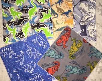 5 Assorted Double Sided Cotton Flannel Wipes (8x8) or Napkins - Dinosaur Lot