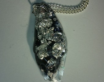 Black ice crystal pendant