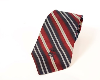 Vintage Countess Mara Silk Necktie - Striped tie Red Black White