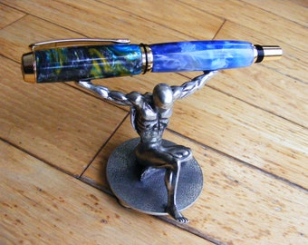 Baron fountain pen in Blueberry Crush and Starry Night with gold accents